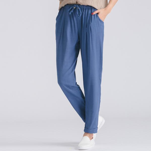 Women Casual Harem Pants Drawstring Elastic Waist Ankle Length Slim Long Trousers blue