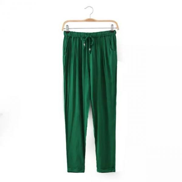 Women Casual Harem Pants Drawstring Elastic Waist Ankle Length Slim Long Trousers green