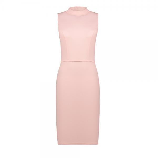 Women Pencil Dress Open Back High Neck Sleeveless Casual Bodycon Short Club Party Dress light pink