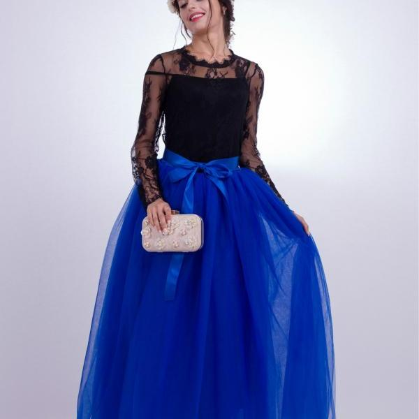6 Layers Tulle Skirt Summer Maxi Long Muslim Skirt Womens Elastic Waist Lolita Tutu Skirts royal blue