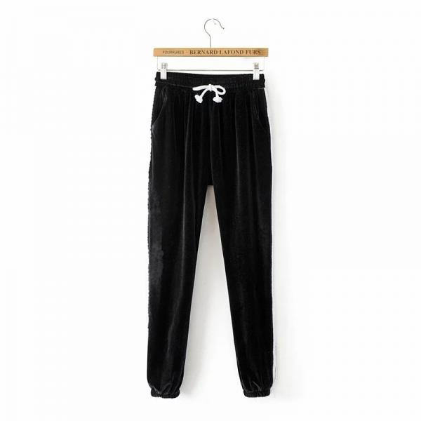 Sweatpants Women Sport Pants Joggers Casual Harlan Yoga Gym Side Striped Pleuche Drawstring High Waist Lady Femme Trousers black