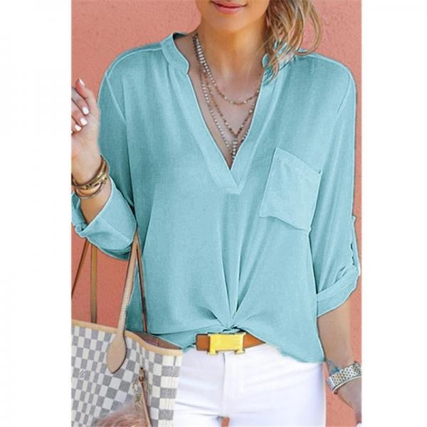 Women Chiffon Blouse V Neck Long Sleeve Pockets OL Plus Size Casual Loose Tops Shirt aqua