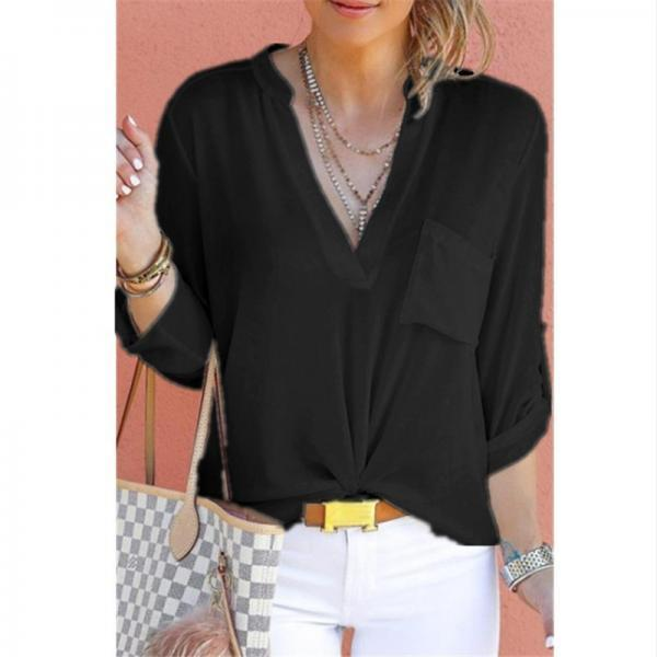 Women Chiffon Blouse V Neck Long Sleeve Pockets OL Plus Size Casual Loose Tops Shirt black