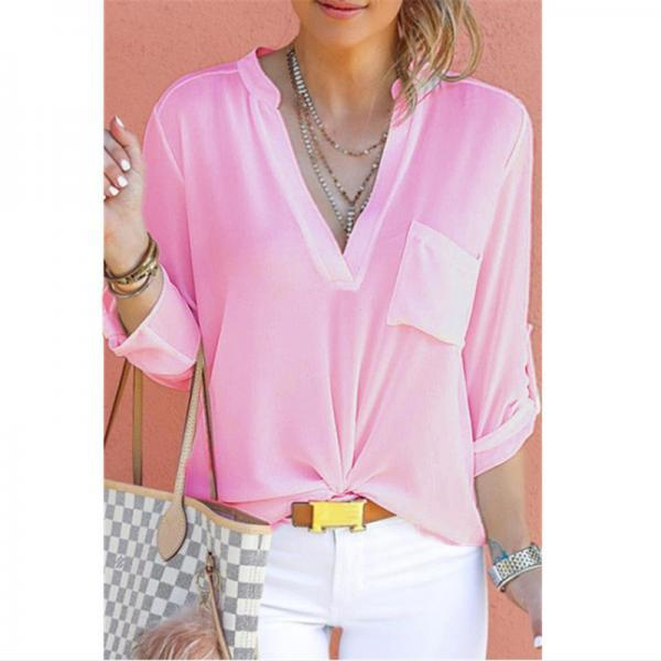 Women Chiffon Blouse V Neck Long Sleeve Pockets OL Plus Size Casual Loose Tops Shirt pink