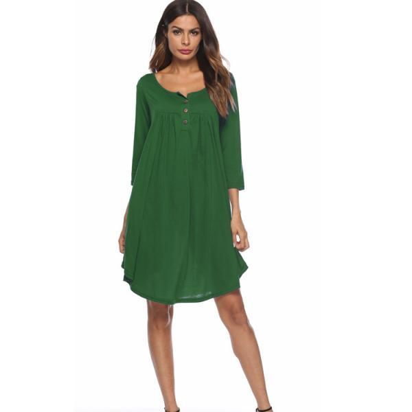 Women T Shirt Dress Autumn 3/4 Sleeve Buttons Plus Size Causal Loose Midi Dress green