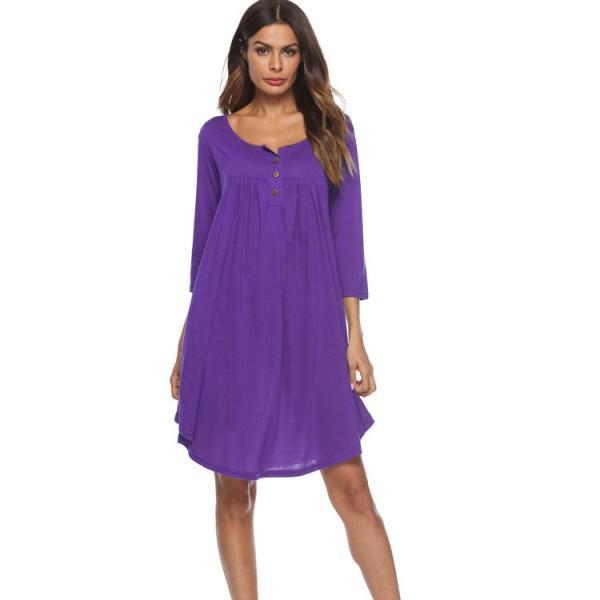 Women T Shirt Dress Autumn 3/4 Sleeve Buttons Plus Size Causal Loose Midi Dress purple