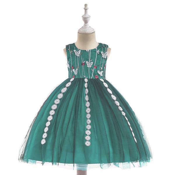 Embroidery Flower Girls Dress Tassel Lace Formal Birthday Party Tutu Gown Children Clothes green
