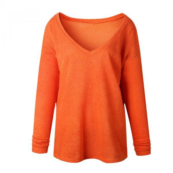 Women Knitted Sweater Spring Autumn V Neck Long Sleeve Casual Loose Top Pullover orange
