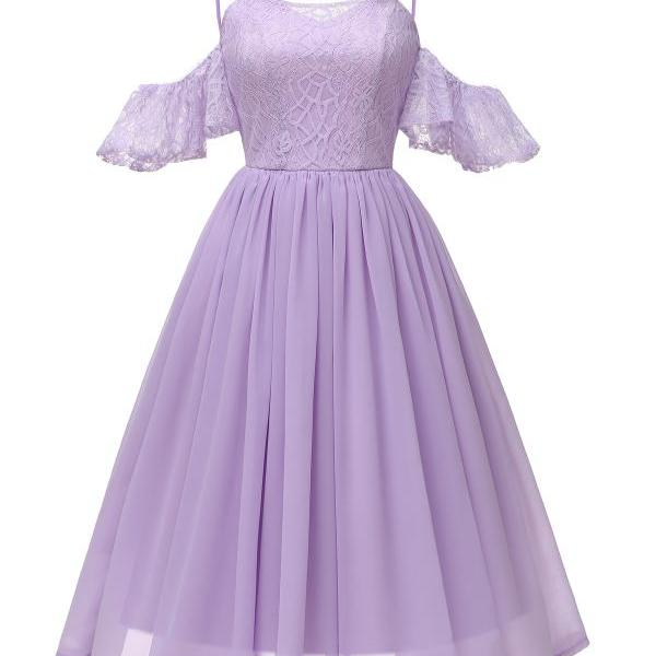 Women Casual Dress Spaghetti Strap Off Shoulder Ruffles Sleeve Lace A Line Formal Party Dress lilac