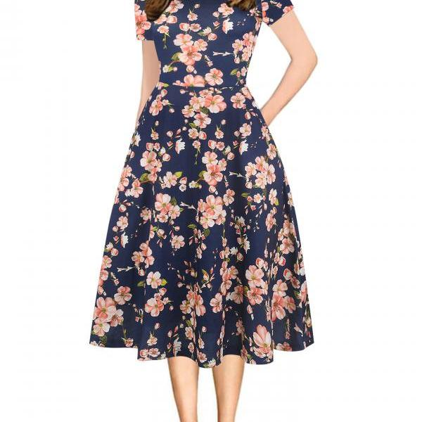 Women Floral Printed Slim Dress Vintage Short Sleeve Knee Length A-line Rockabilly Casual Party Dress 13#