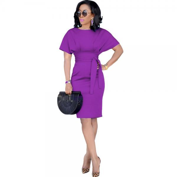 Women Pencil Dress Casual Short Sleeve Belted Bodycon Work Office Business Party Dress purple