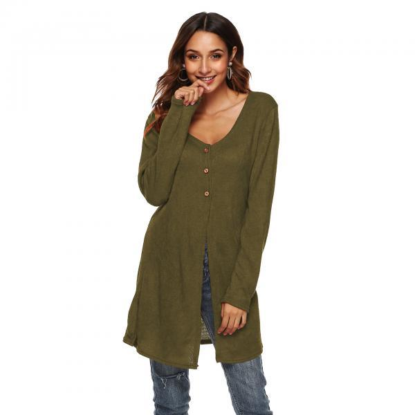 Women Long Sleeve T-Shirt Autumn Asymmetrical High Split Button Casual Long Cardigan Coat Outerwear army green