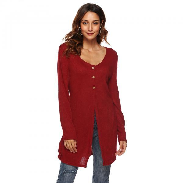 Women Long Sleeve T-Shirt Autumn Asymmetrical High Split Button Casual Long Cardigan Coat Outerwear crimson