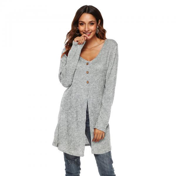 Women Long Sleeve T-Shirt Autumn Asymmetrical High Split Button Casual Long Cardigan Coat Outerwear gray