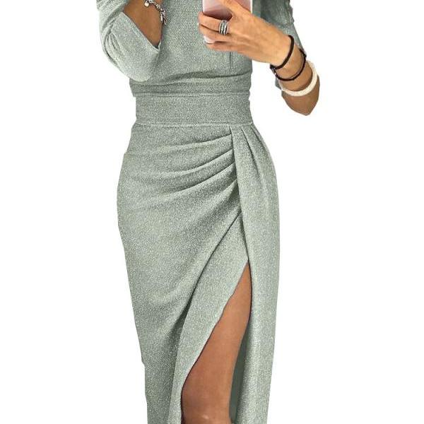 Women Pencil Dress Off the Shoulder Slash Neck 3/4 Sleeve Split Glittering Long Club Prom Party Dress silver-green