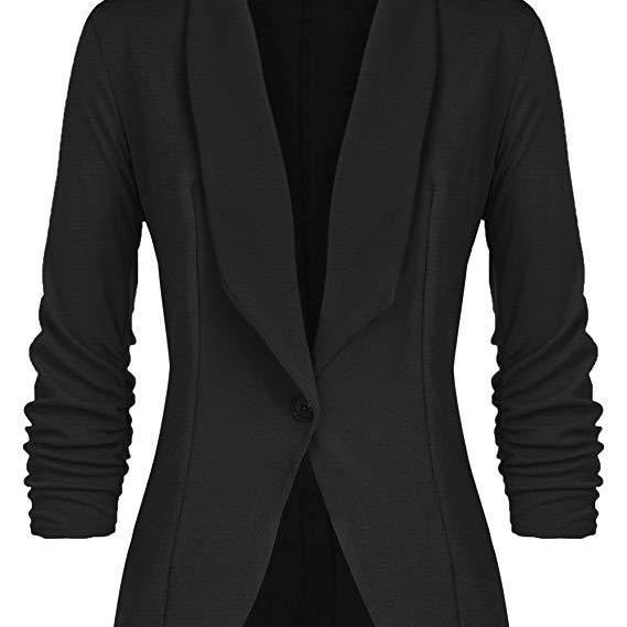 Women Blazer Coat Autumn Long Sleeve Single Button Office OL Business Slim Suit Jacket black