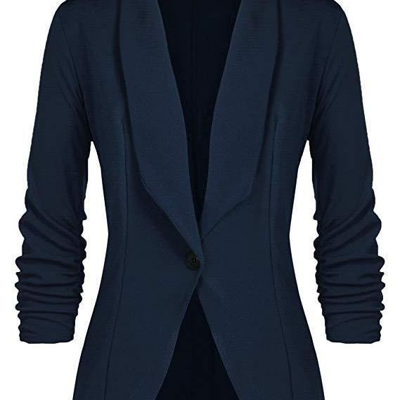 Women Blazer Coat Autumn Long Sleeve Single Button Office OL Business Slim Suit Jacket navy blue