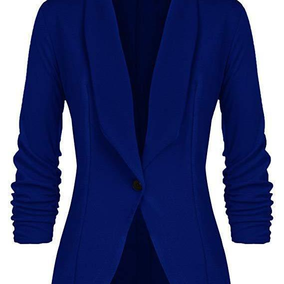 Women Blazer Coat Autumn Long Sleeve Single Button Office OL Business Slim Suit Jacket royal blue