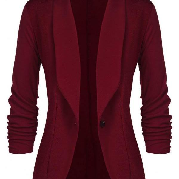 Women Blazer Coat Autumn Long Sleeve Single Button Office OL Business Slim Suit Jacket wine red