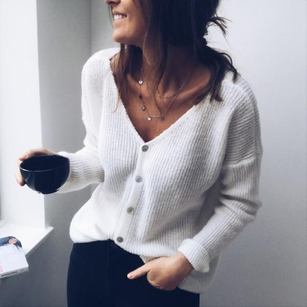 Women Knitted Sweater Autumn V Neck Long Sleeve Buttons Casual Loose Cardigan Tops off white