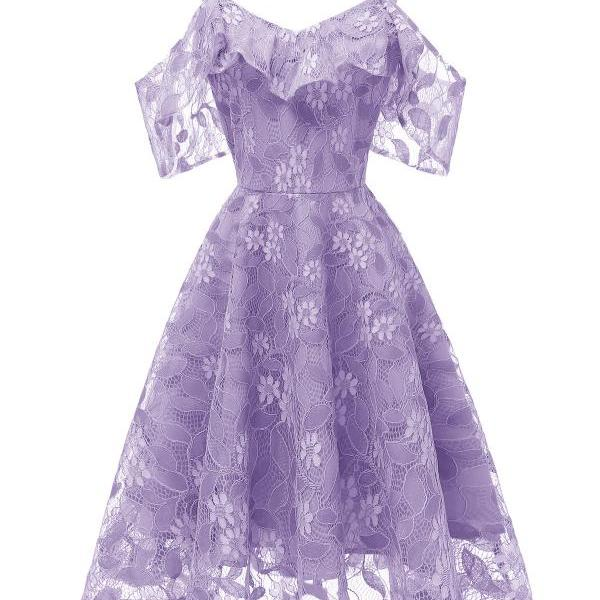 Women Floral Lace Dress Off the Shoulder A Line Formal Bridesmaid Evening Party Dress lilac