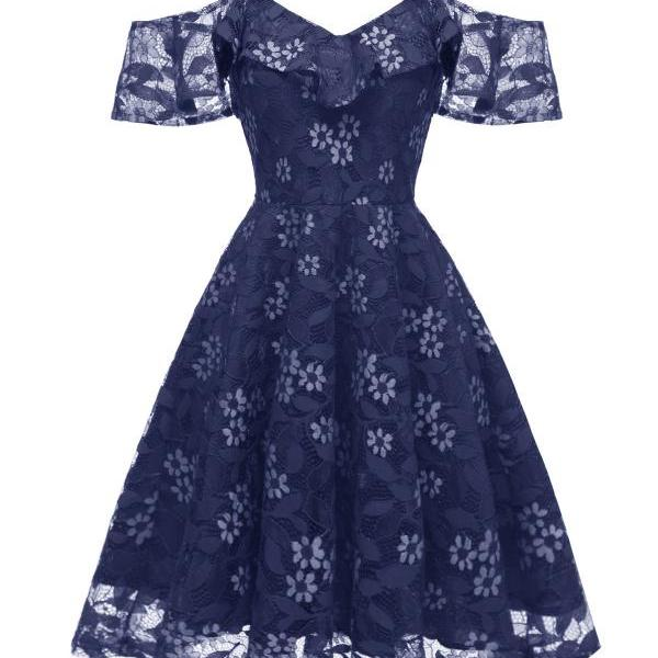 Women Floral Lace Dress Off the Shoulder A Line Formal Bridesmaid Evening Party Dress navy blue