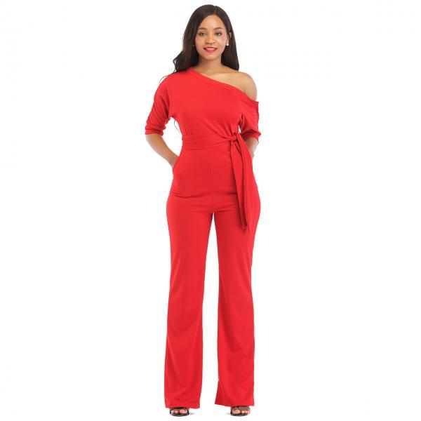Women Jumpsuit Off the Shoulder Half Sleeve Plus Size Belted Wide Leg Rompers Overalls red