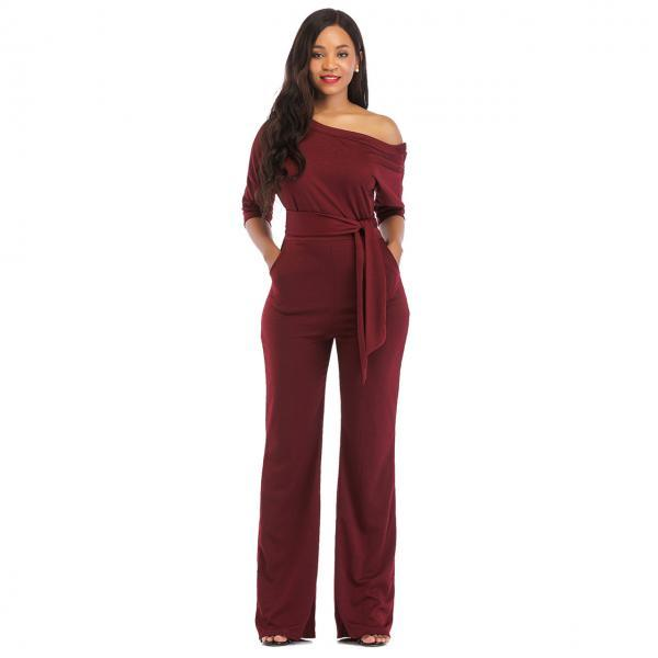Women Jumpsuit Off the Shoulder Half Sleeve Plus Size Belted Wide Leg Rompers Overalls wine red