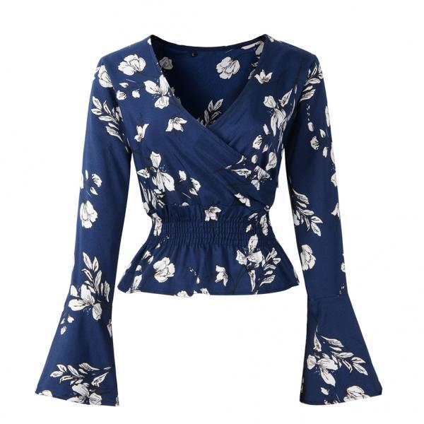 Women Chiffon Blouse Spring Autumn V Neck Long Flare Sleeve Floral Printed Casual Short Tops navy blue