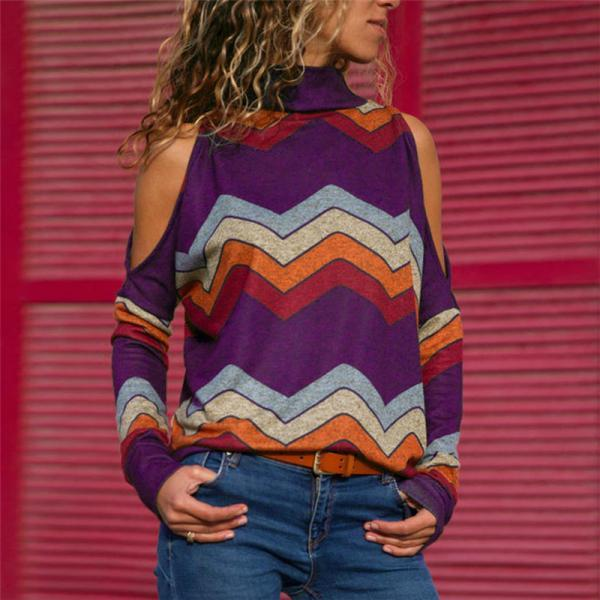 Women Knitted Sweater Off Shoulder Long Sleeve Casual Loose Turtleneck Geometric Printed Pullover Tops purple
