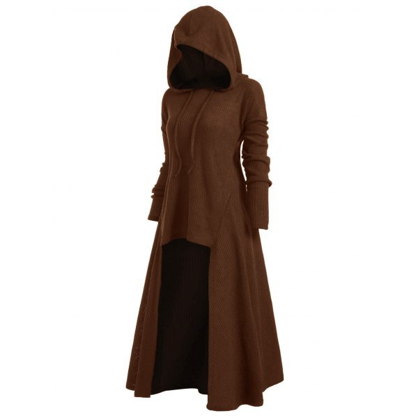 Women Asymmetrical Dress Gothic Long Sleeve Hooded Plus Size High Low Casual Dress coffee