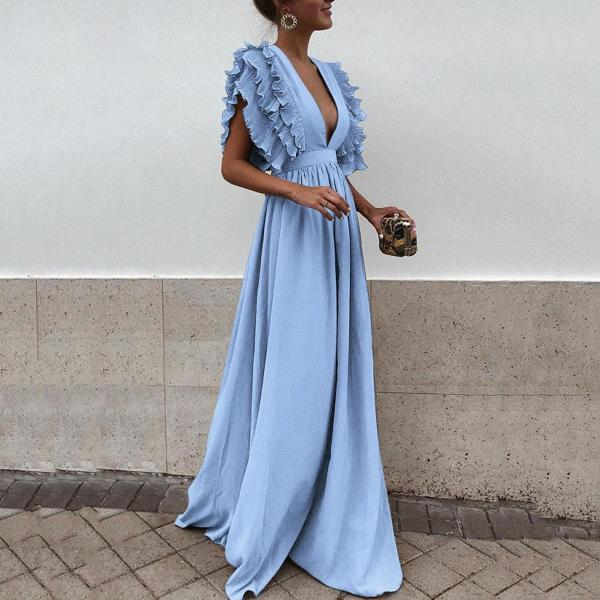 Women Maxi Dress Sexy V Neck Floor-Length Ruffles Short Sleeve Backless Long Party Dress light blue