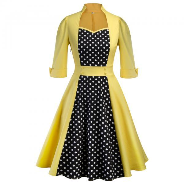 Women Polka Dot Printed Dress Vintage 50 60s 3/4 Sleeve Patchwork Casual Rockabilly A Line Party Dress yellow