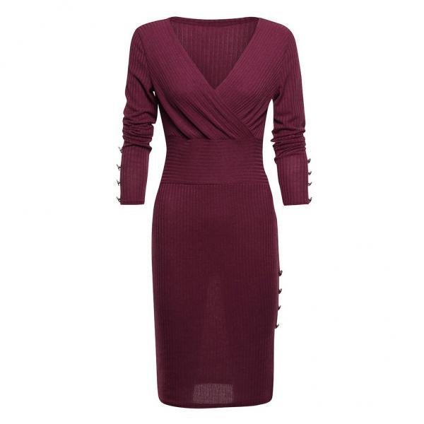 Women Knitted Pencil Dress V Neck Long Sleeve Rivet Button Bodycon Club Party Dress wine red