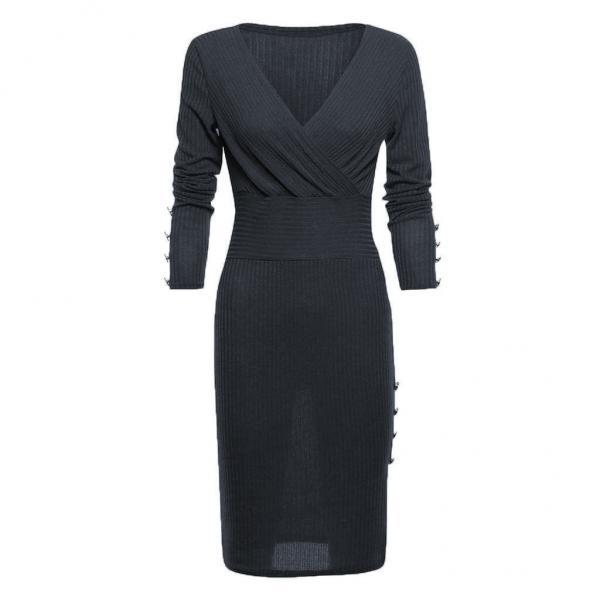 Women Knitted Pencil Dress V Neck Long Sleeve Rivet Button Bodycon Club Party Dress dark gray