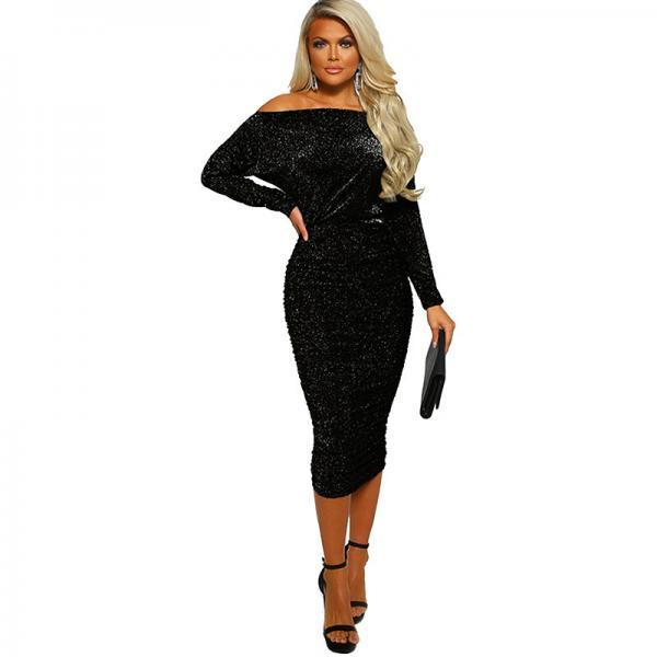 Women Pencil Dress Sexy Off the Shoulder Long Sleeve Bodycon Midi Club Party Dress black