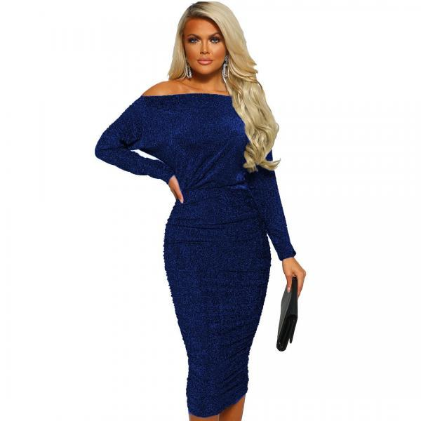 Women Pencil Dress Sexy Off the Shoulder Long Sleeve Bodycon Midi Club Party Dress blue