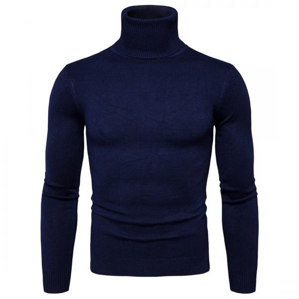 Men Knitted Sweater Autumn Winter Turtleneck Long Sleeve Casual Slim Pullover Tops navy blue