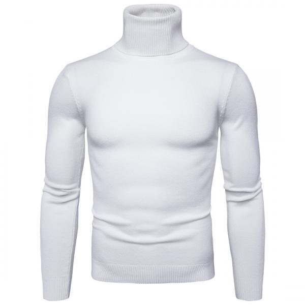 Men Knitted Sweater Autumn Winter Turtleneck Long Sleeve Casual Slim Pullover Tops off white