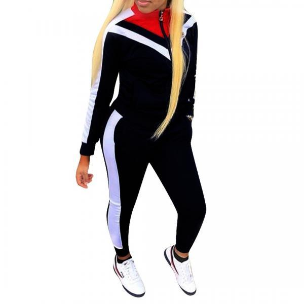Women Tracksuit Long Sleeve Coat+Pants Casual Patchwork Sportswear Two Pieces Set Overalls black
