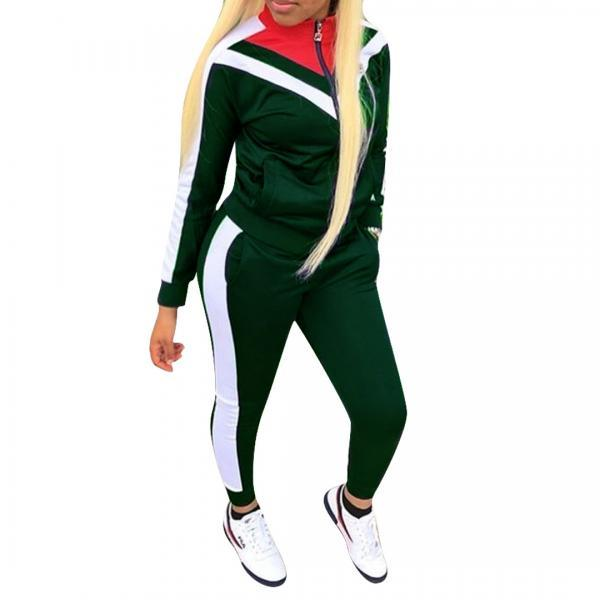 Women Tracksuit Long Sleeve Coat+Pants Casual Patchwork Sportswear Two Pieces Set Overalls hunter green