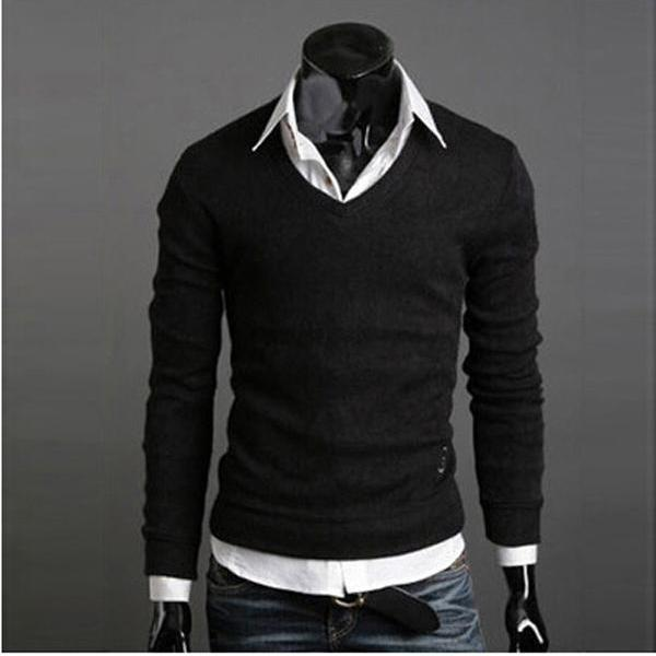 Men Knitwear Sweater Spring Autumn V Neck Long Sleeve Jumpers Casual Slim Pullover Tops black