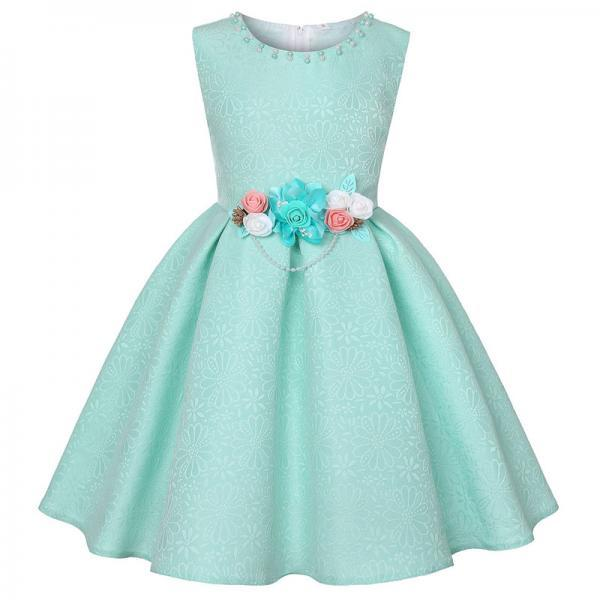 Floral Flower Girl Dress Princess Formal Birthday Teens Party Gown Kids Children Clothes pale green