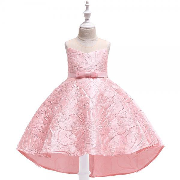 Jacquard Flower Girl Dress Princess High Low Birthday Formal Party Gown Kids Children Clothes pink