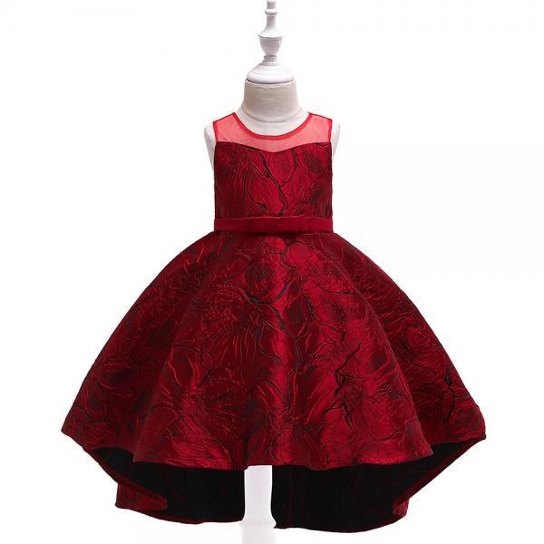 Jacquard Flower Girl Dress Princess High Low Birthday Formal Party Gown Kids Children Clothes purplish red